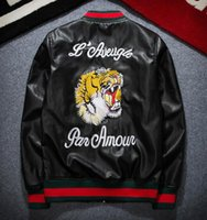 Wholesale Men S Leather Wear - 2017 Winter Jackets Men Big Brand Tiger Embroidery Windbreaker Handsome Men S-2XL Leather Jacket Fall Casual Coat