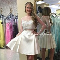 Wholesale Polka Dot Two Piece Dress - Polka Dotted Two Pieces Prom Dresses 2016 Sparkly Beaded Sequins Short Homecoming Dresses Sexy Crop Top Sheer Neck Long Sleeve Party Gowns