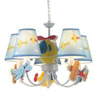 araña niños al por mayor-Sala de Niños de dibujos animados Aviones Luces Colgantes Lindo Azul Niños Habitación Lámpara Colgante Dormitorio Hnaging Luz Araña