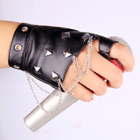 Wholesale Leather Gloves Lady Sexy - Wholesale-Unisex gothic punk lady girl boy Sexy Disco dance rock-and-roll fingerless short PU leather gloves free shipping