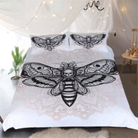 Wholesale skull bedding - White Black Moth Skull Reactive Printing Bedding Sets Twin Full Queen King Size Duvet Cover Pillow Shams Adult Bedroom Sets Animal Bee