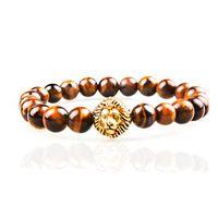 Wholesale Tiger Woods Sale - SN0635 Top Sale Wholesale Tiger eye stone bracelet with lion head Gold Natural stone stretchy bracelet for man
