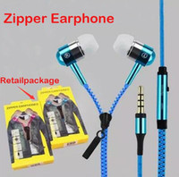 Wholesale Headphones Mp3 Retail Package - Zipper Headphones In Ear Headphone Headset 3.5mm In-Ear Zip Earphone for Android iphone with microphone mp3 player With Retail Package