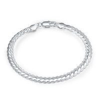 Wholesale Silver Snake Chain 5mm - 5mm Wide 20CM 925 Silver Bracelet Classic Bracelets Bangles Flat Snake Chain Bracelet Men's Fashion Beautiful Gifts For Lover Lady Jewelry