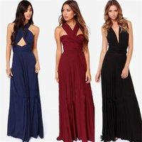 mehrfarbige brautjungfern kleider großhandel-2018 Frauen elegante Abend Party Kleid Cabrio Multi Way Wrap Brautjungfer formale Solid Color lange Kleider