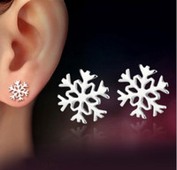 Wholesale Gold Snowflake Stud Earrings - Christmas Girls Stud Earrings Snowflake Flower Ear Jewelry White Gold Overlay Stud Earrings For Women White Color Fashion Brand New Arrival