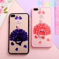 étui en rose pour dentelle achat en gros de-New Arrive Fashion Pink Lace Purple Ring Holder Petals Girl Case pour Iphone 6 6s Plus 7 7 Plus