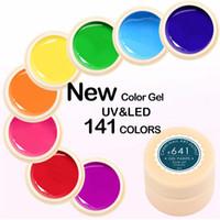 marcas de pintura de uñas de arte al por mayor-Marca 5 ML 141 Pure Colors UV Gel Manicura DIY Nail Art Tips Gel Polaco Diseño Pintura Gel de Color