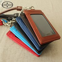 Wholesale Credit Card Holder Lanyard - 2016 PU Lanyard Women Card Case Holder Portable String Fashion ID Bus Identity Badge with Lanyard Porte Carte Credit