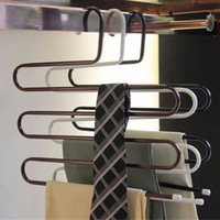 Wholesale Towels Clothes - Multi-Purpose Pants Metal Holders For Trousers Towels Clothes Apparel Hangers Rack Five-layer Space Saving Organizer Saving Space