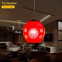 Wholesale Living Room Lamp Drop - LED E27 Chinese Style Red Pendant Light Suspension Drop Lamp Ceramic Lamp Restaurant Kitchen Lighting Modern Dining Bar Fixtures