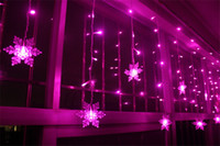 Wholesale Christmas Lights Ceiling Decorations - 3.5M 100SMD 16P Snowflake LED Curtain String Lights Lamp New Year Garden Christmas Wedding Party Ceiling Decoration 110V 220V