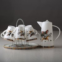 Wholesale New Tea Set - 2017 New Arrivals Fashion Bone China Ceramic Coffee Tea Water Cup And Pot 7 Pieces Sets European High Quality Fashion Household Gift