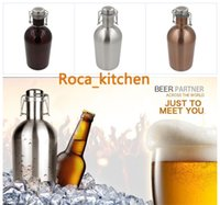 Wholesale Stainless Steel Beer Growler oz Swing Top Hip Flask Beer Bottle Ultimate Growler L monolayer Botella Thermo Bottle