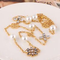 Wholesale Brass Christmas Ornaments - Brand name brass material 2.2cm crystal diamond and pearl bead in 1.5cm ornament for women long necklace in 100cm jewelry Free S