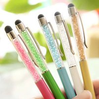 Wholesale Wholesale Pens Pads - Wholesale-Hot Sale 1PCS 2 in1 Crystal Stylet Colorful Stylus Touch Screen Pen for Phone Pad Tablet