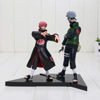 Wholesale Model Figure Base Set - Free shipping 2pcs set 16-18cm Anime Naruto Hatake Kakashi VS Sasori PVC Action Figures Model Toys with Base