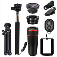 Lens   mobile phone camera lens 10 in 1 telephoto lens Ipad 8X 12X Fish Eye Wide Angle Macro Lens Selfie stick Mini Tripod