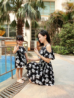 Wholesale Baby Mommy Dresses - Mother daughter dresses summer stlye family look clothing mom and daughter dress cherry chiffon baby mm clothes mommy and me clothes A8266