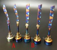 rainbow vaporizer großhandel-Eloxiertes buntes Titancarb-Kappen-Regenbogen-Ti-Nagel dabber 14mm und 18mm für das Rauchen des Wasserpfeifenglasöl-Ölplattform-Zerstäubers