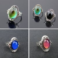 Wholesale Gypsy Boho Adjustable Oval Color Change Mood Ring Emotion Feeling Changeable Ring