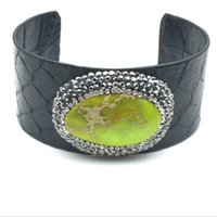 New Black Python Leather Bangle Snake Skin Faceted Natural Stone Charm Pave Rhinestone Open Cuff Pulseira ajustável