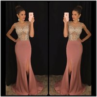 Wholesale Tulle Long Night Dresses - Hot Sale Side Split Prom Night Dress Sexy Beaded Chiffon Formal Gowns See Through Crystals Long Party Dresses Custom Size