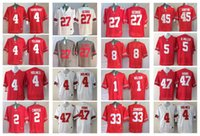 Wholesale Hawking Orange - 1 WILSON 4 HERBSTREIT YELDON HOLMES 27 GEORGE 2 CARTER 33 JOHNSON 45 GRIFFIN 5 B.MILLER 47 HAWK College Ohio State Buckeyes Men Jerseys