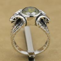 snakes 925 ring Canada - Balck Olive CZ King 925 Sterling Silver Cobra Snake Biker Rocker Punk Ring 9K030 US Size 7 ~ 15