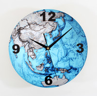 Wholesale Three Dimensional Wall Clocks - Wholesale-Beautiful blue planet Earth three-dimensional wall clock fashion creative arts wall clocks map when the bell