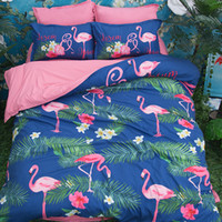 Pink Flamingo Set de cama floral Blue Duvet Cover Lençois conjuntos de cama Double Queen King Size 4pcs Bedding