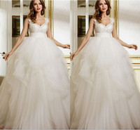 Wholesale Wedding Dress Flower Neck - Puffy Pleated Tulle Ball Gown Wedding Dresses Garden Empire Floor Length V Neck Lace Top Bridal Dresses 2016 Summer Wedding Gowns