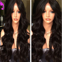 Wholesale white blonde full lace wig for sale - Hot selling middle part Synthetic hair full Lace Front wigs brazilian body wave sexy Wigs For black Women