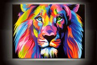 Wholesale Life Colour - Gift Modern Animal Colour Lion Painting Art Printed on Canvas Art Wall HD Picture poster Fpainting Living Room Home wall Art Decor DY132