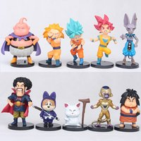 Wholesale Red Figurine - Dragon Ball Super 10 pieces   set. Hercule Goku Buu Figurine 1 10 scale painted rice Karin Beerus Doll PVC Figure Toys Brinquedos Children G