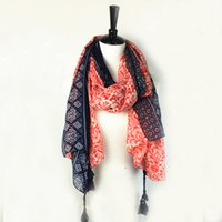 Wholesale Exotic Tassels - 2016 Wholesale designer exotic floral printing women infinite women polyester scarf sarong with tassels fashionable 10pcs lot size 90x180cm