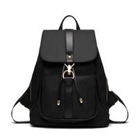 ipad kızları toptan satış-Kadın Sırt Çantası Bağbozumu Oxford dizüstü Sırt Çantaları İpli Siyah Omuz Çantaları Genç Kızlar Için Okul Çantası