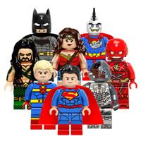 Wholesale Bat Superman - Building Blocks Super Heroes Toys For Children Mini Superman Bat Man Wonder Woman Flash Figures Kids Baby Toys Bricks 8pcs lot