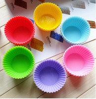Wholesale Silicone Baking Molds Muffin - Silicone Cupcake Molds 6.5cm Silica Gel Liners Baking Mold Muffin Cup Cake Baking Cups Cupcake Cases Home household round shape