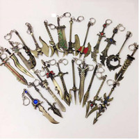 Wholesale League Legends Necklace - New League of Legend charm weapons keychain with ADC, JUNGLE, MID, SUPPORT pendant fit necklace diy jewelry DIY Free shipping