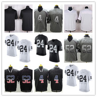 Wholesale Mack Red - 2018 new Men Elite Style Stitched Ralders #4 CARR #24 LYNCH #52 MACK White Black football jerseys