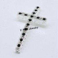 Wholesale Make Rhinestone Connectors - Hot Sale 20pcs Silver Plated Sideways Cross Connectors Bracelets Making Findings With Black And White Rhinestone