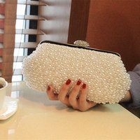 Wholesale Silver Prom Handbags Clutches - Women Pearl White Shoulder Handbag Clutch Wedding Bridal Party Prom Purse Evening Bag Bridal Accessories Silver Wraps
