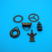 Wholesale Silver Plating Jewelry Ring Findings - Mixed Tibetan Bronze Survival Lantern Ring Gear Charms Pendants Jewelry Making Bracelet Necklace Fashion Finding Accessories DIY HOT V130