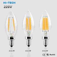 Wholesale Candel Led Lamp - Filament Edison LED Bulb E14 2W 4W 6W 220V Clear Glass Candel Light 360 Degree Led Lamp Light Chandelier Lighting