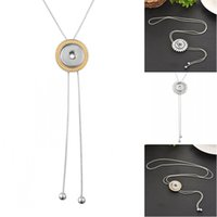 FBA Drop Shipping Prata Cor Round Pendant Necklace Rhinestone Snap Pendant Necklace Fit 5.5mm DIY Snap Buttons Jóias N535Q