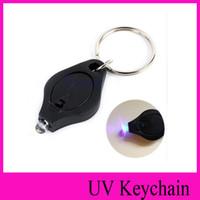 siyah ışık ultraviyole toptan satış-YENI Siyah ultraviyole ışınları mini Fenerleri UV ışık Para Dedektörü LED Anahtarlık Işıkları renkli küçük hediye