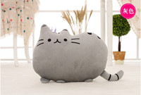 Wholesale Pink Cat Tail - 2016 new stuffed plush toy pusheen cat girl kids Birthday gift Cute cat Pillow animal doll 40x30cm Big tail cat toy gray 5 colours