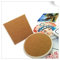 Wholesale Square Ceramic Cup - Wholesale- Square and round custom coasters cork ceramic cup pad 10 pieces per lot
