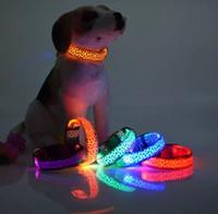 Wholesale Dog Walking Light - LED Dog Collars Camo Camouflage Pet Print Sizes Small Medium Large 4 Modes Slow Fast Flashing Steady Lights Night Walking Safety